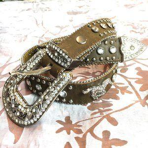 Nocona Jewel Western Girls Leather Belt w/ Horses